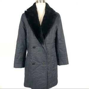 VTG Guy Laroche Black Quilted FauxFur Trimmed Coat
